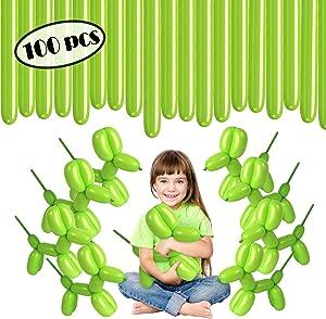 Long Lime Green Balloons - Green Twisting Balloons - Apple Green 260 Balloons 100 Count - Balloon Animal Balloons - Green 260Q Balloons for Magic Tricks, Birthdays Party, Clowns Gift Box (Lime Green, 100 pc)