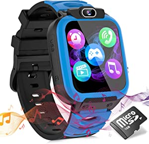 Kids Smart Watches for Girls Boys, Cell Phone Watch for Kids Educational, HD Touch Screen Games Watch Children Electronic Learning Toys Birthday Gifts for 3-14 Years Students(Blue)