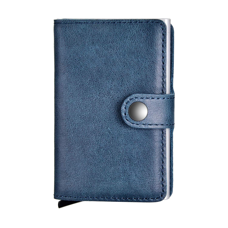 Kreditkartenetui, SECARIER Echtleder Kartenetui Slim Wallet Visitenkartenetui Geldklammer Karten Portemonnaie mit RFID Schutz Fettleder fü r Mä nner, Herren (Blau)