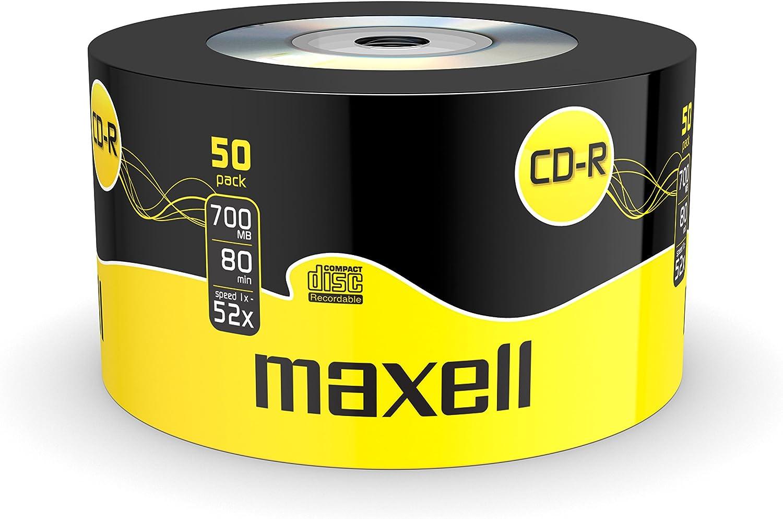 Maxell - CD-RW vírgenes (CD-R, 700 MB, 52x, 50 Unidades): Amazon.es: Informática