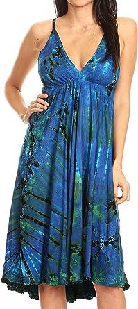 Women/'s Blue Stonewashed Rayon Sleeveless Embroidered Summer Fashion Midi Dress M