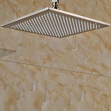 Senlesen Brushed Nickel Bathroom 12-inch Adjustable Fixed Rainfall ...