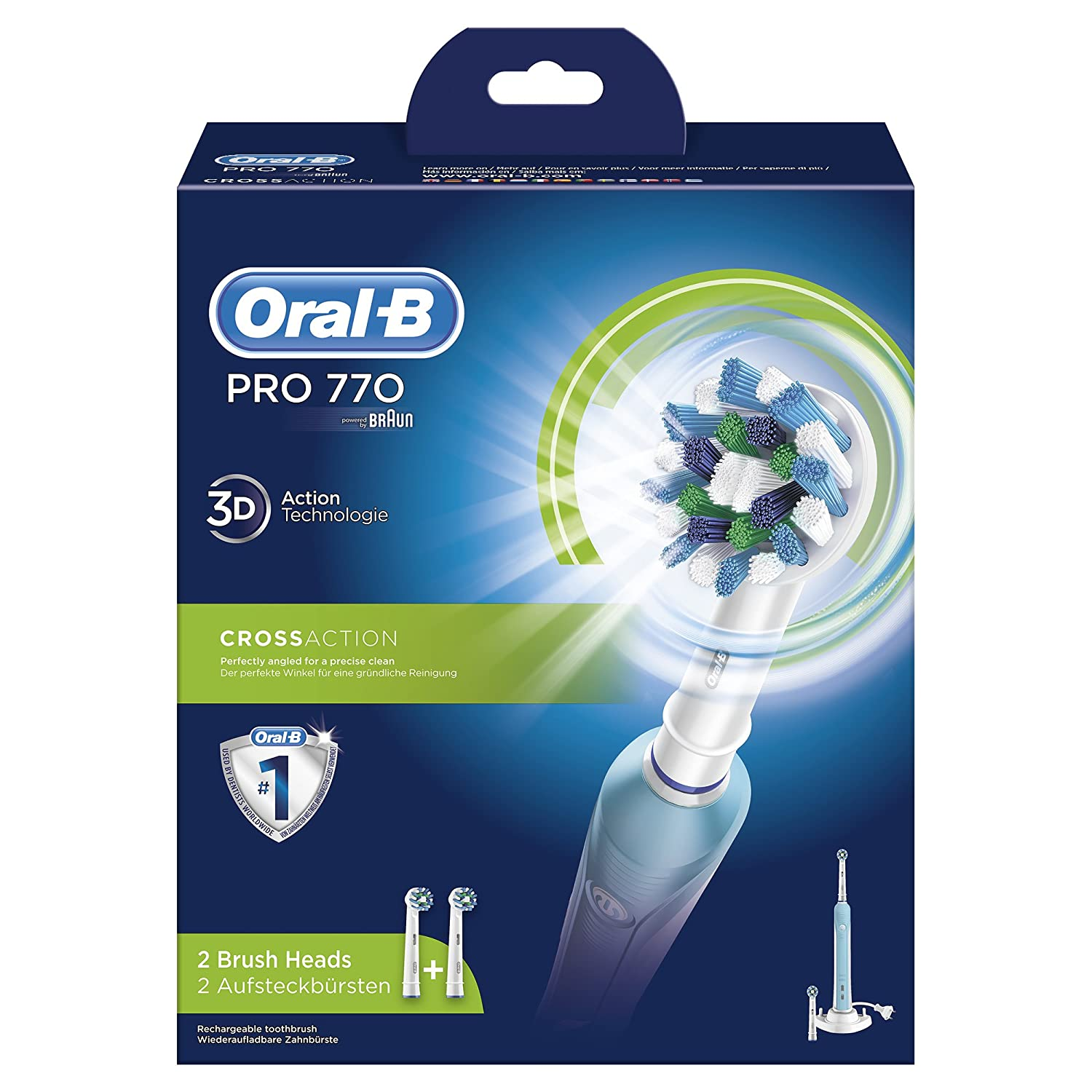 Oral-B PRO 770 CrossAction - Cepillo de dientes eléctrico (Batería, Integrado, CrossAction), con 2 cabezales incluidos: Amazon.es: Salud y cuidado personal