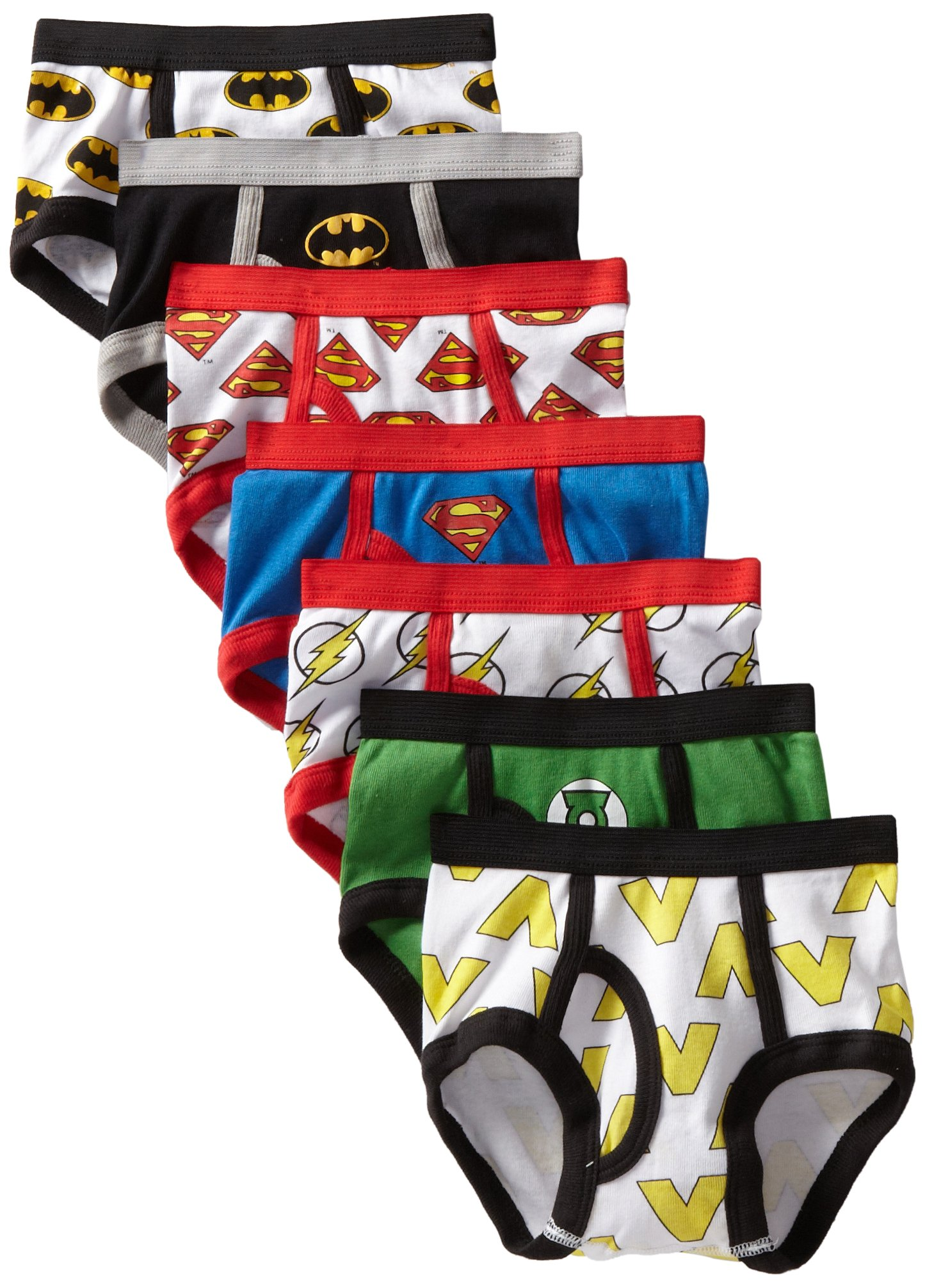 DC Comics Handcraft Little Boys' Justice League Logo Brief (Pack of 7), Assorted, 4T