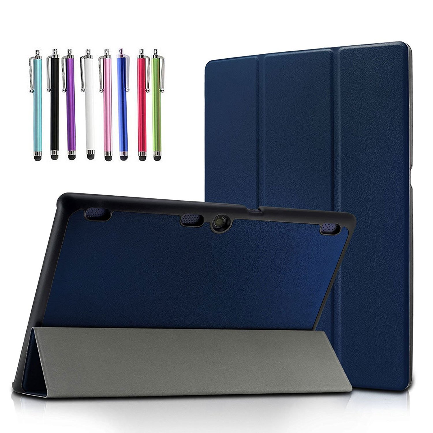 Lenovo TAB-X103F Tab 10/Tab 2 A10 Case, EpicGadget(TM) Slim Tri-Fold Case Cover with Auto Wake/Sleep for Lenovo TB3-X70F Tab 10/Tab2 A10-30/Tab2 A10-70/Tab 3 10 Business Tablet (Navy Blue)