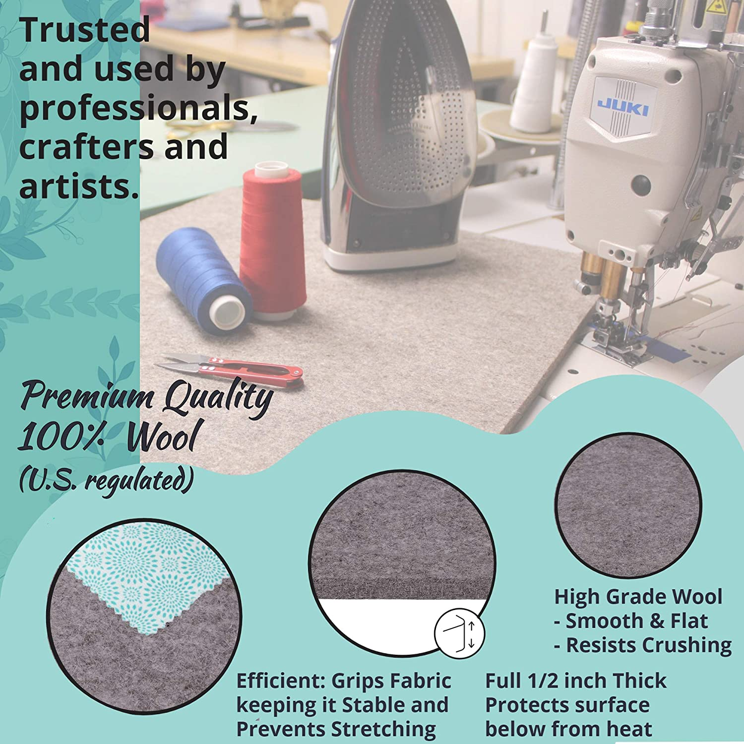 100/% Real Wool Made in USA Cottage Lane Wool Pressing Mat Quilting Supplies 16 x 14 Inches Portable Ironing Board Large Tabletop Sewing Notions Wool Ironing Pad for Quilters