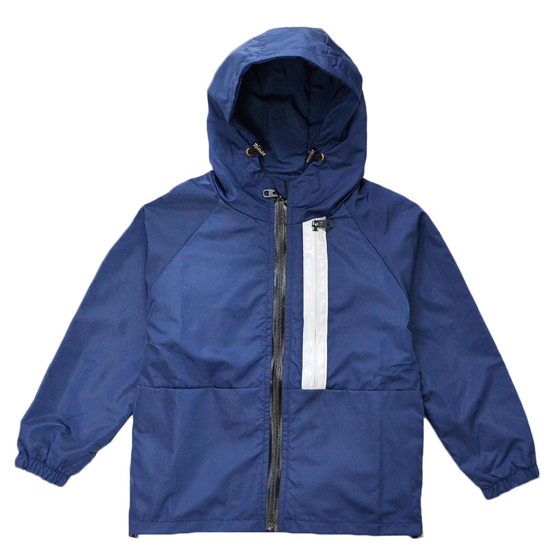 KISBINI Boy's Kids Hooded Windproof Zipper Jackets Coats Windbreakers Raincoats