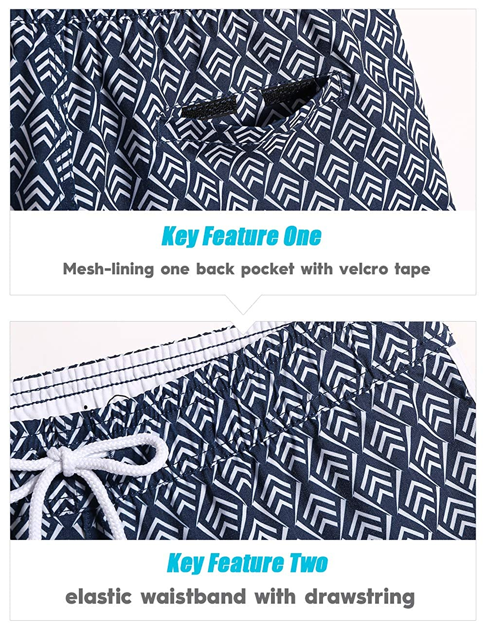 MaaMgic Womens Swim Shorts Printed Elastic Surf Sport Retro Boardshorts Quick Dry for Women Beach Wear Swim Bottom Trunks