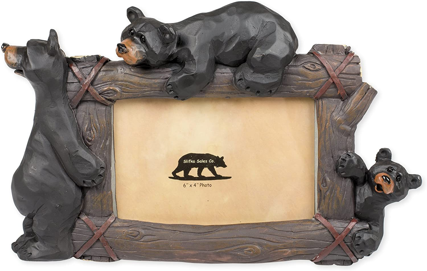 Slifka Sales Co. Climbing Bears 11 x 2 x 7.5 Inch Resin Crafted Tabletop 4x6 Picture Frame
