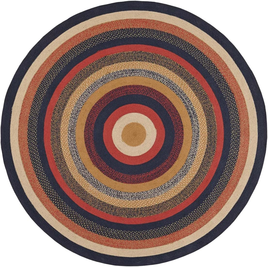 VHC Brands 27501 Primitive Flooring-Stratton Blue Round Jute Rug, 8 Diameter, Navy