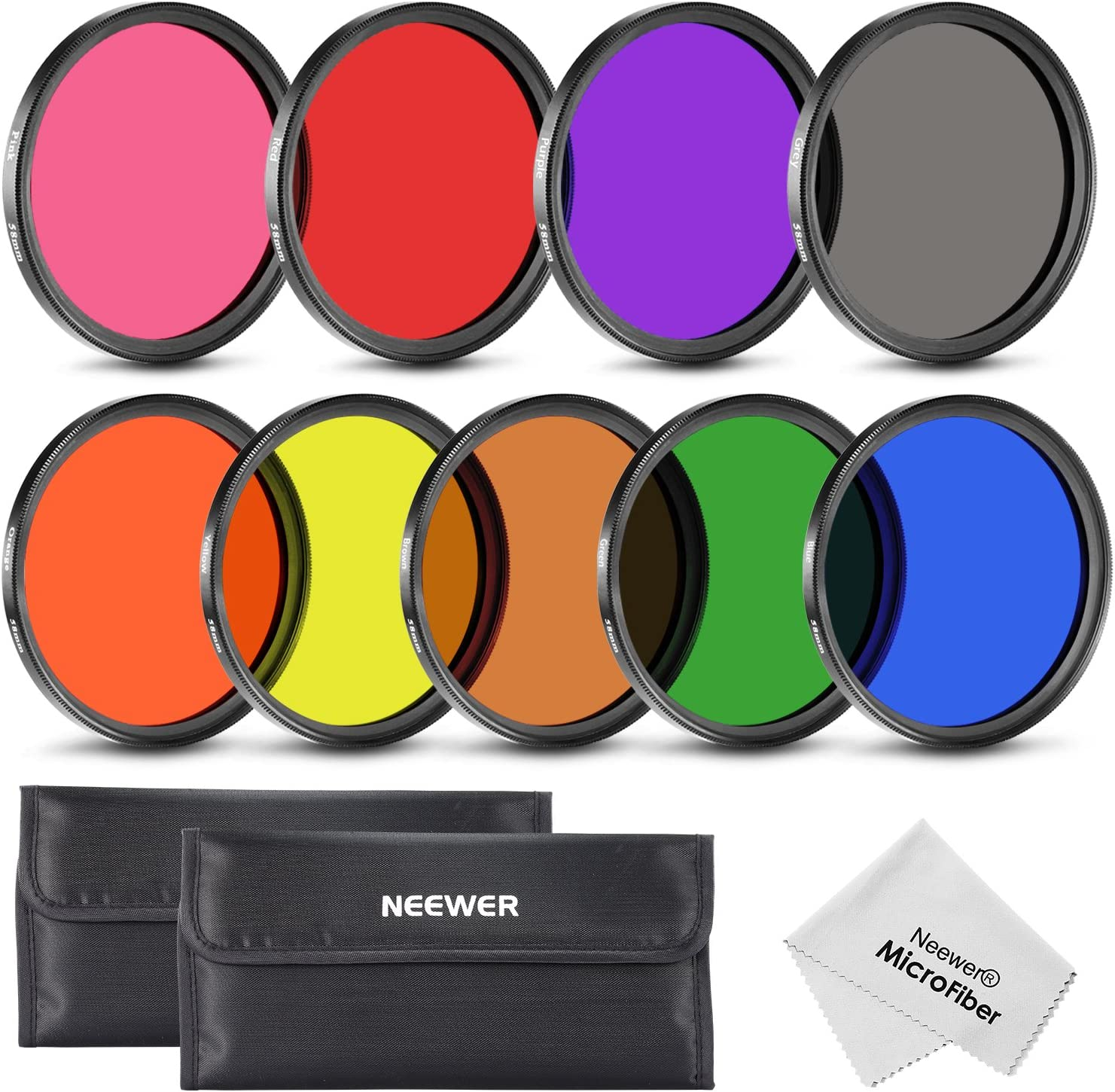 Neewer 9 Pieces 58MM Full Color Lens Filter Set for Camera Lens with 58MM Filter Thread Includes Red Orange Blue Yellow Green Brown Purple Pink and Gray ND Filters with Carry Pounch