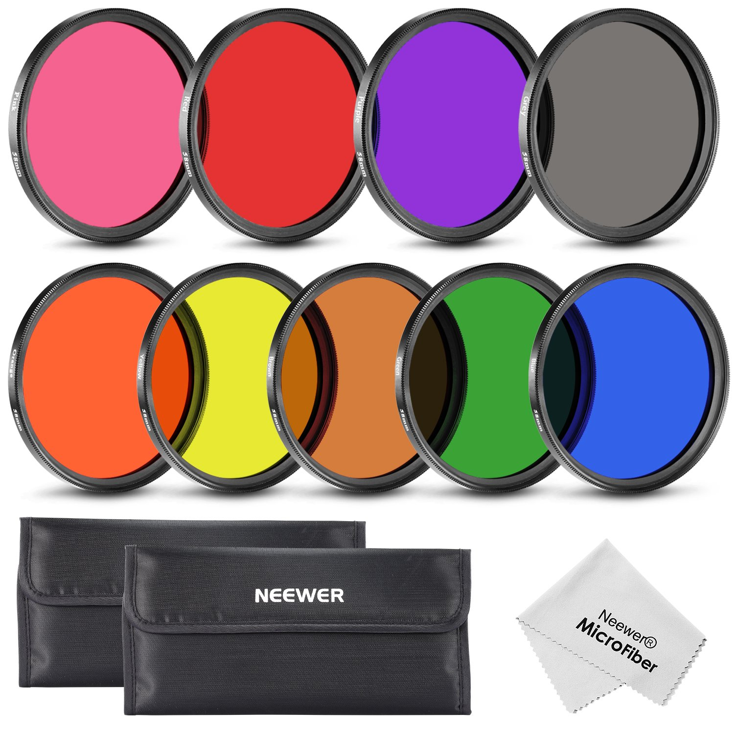 Neewer 58MM Complete Full Color Lens Filter Set (9pcs) for Camera Lens with 58MM Filter Thread - Includes: Red, Orange, Blue, Yellow, Green, Brown, Purple, Pink and Gray ND Filters + Filter Carry Pounch + Microfiber Lens Cleaning Cloth by Neewer