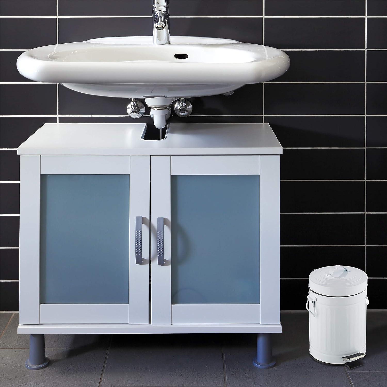 3 L Cubo Basura Pedal /«Retro/» con Recipiente Interior para Ba/ño y Cocina Gris Acero Inoxidable-Pl/ástico Relaxdays