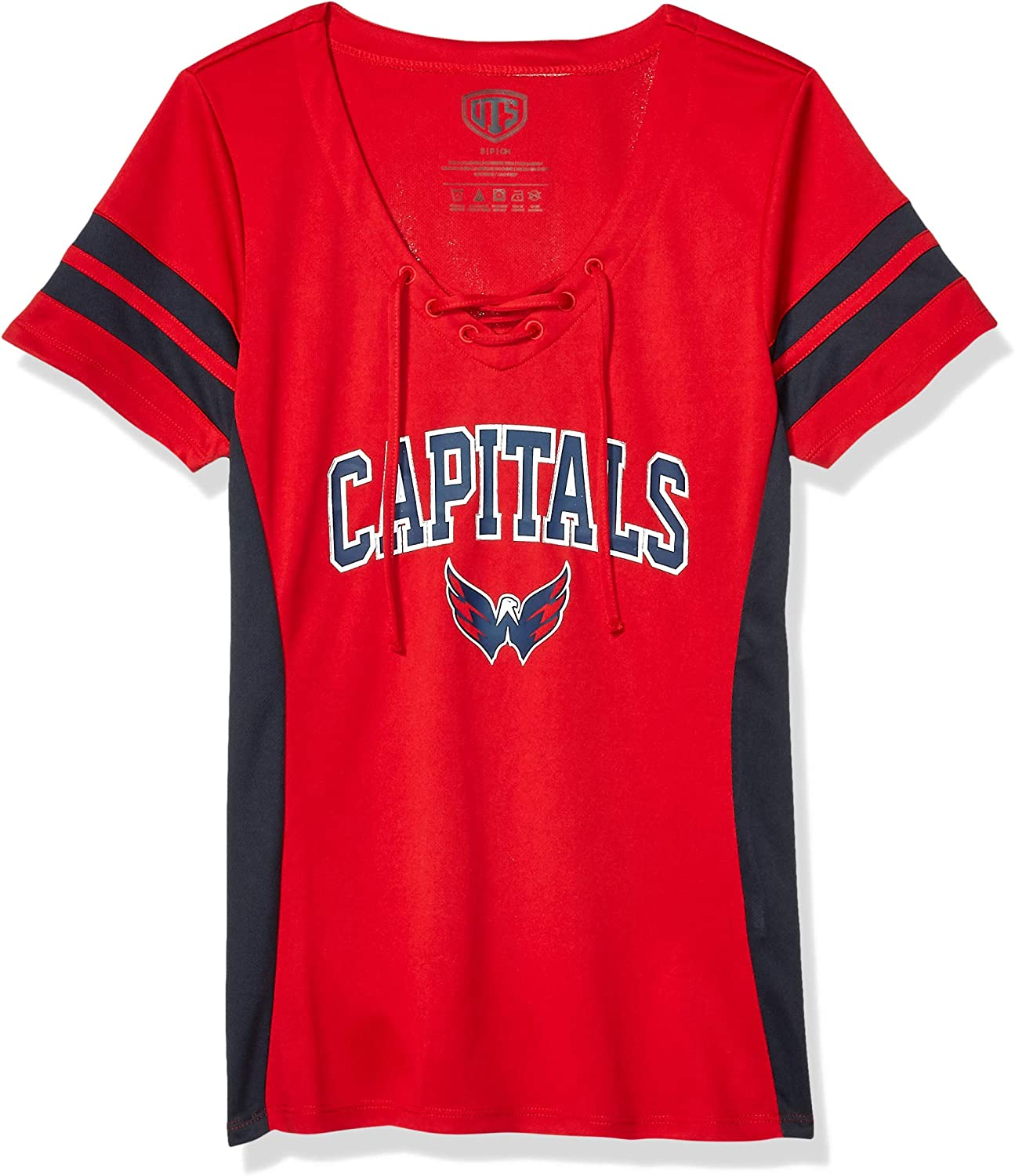 OTS NHL Womens Poly Lace Up V-Neck Tee