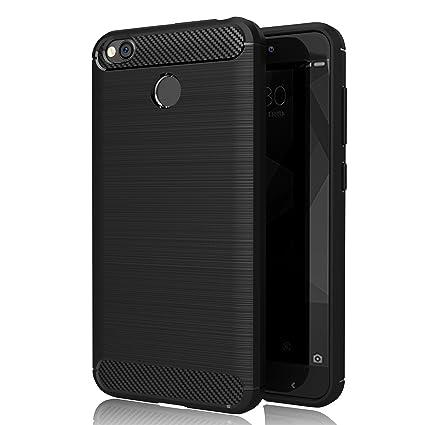 Funda Xiaomi Redmi 4X, GeeRic Negro Silicona Fundas para Xiaomi Redmi 4X Carcasa Fibra de Carbono Funda Xiaomi Redmi 4X Case Cover 5.0