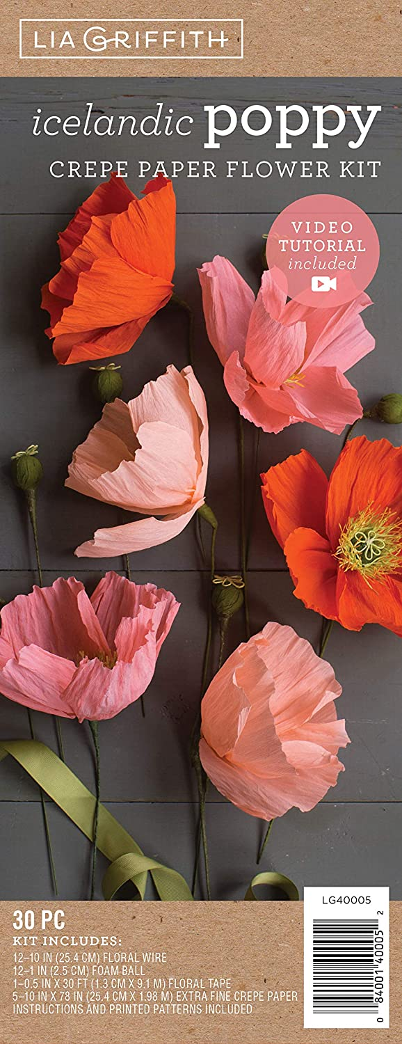 Lia Griffith Crepe Paper Flower Kit, Icelandic Poppy, Assorted Sizes, Assorted Colors, 30 Pieces