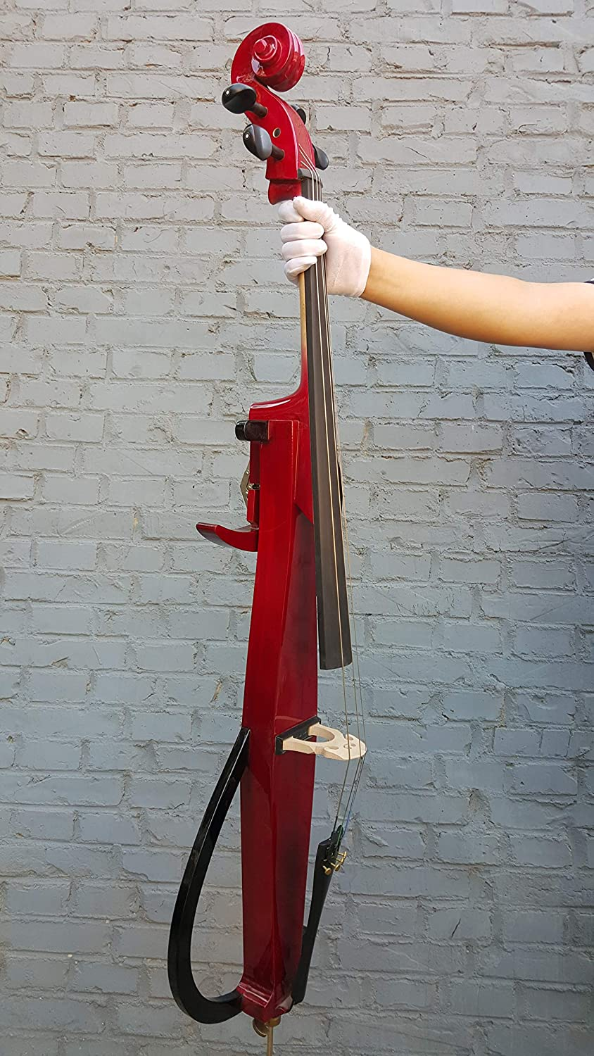 Rosin Bow Yinfente Electric Cello 4//4 Full Size Solid wood Violoncello Ebony Fittings with Bag Aux Cable White