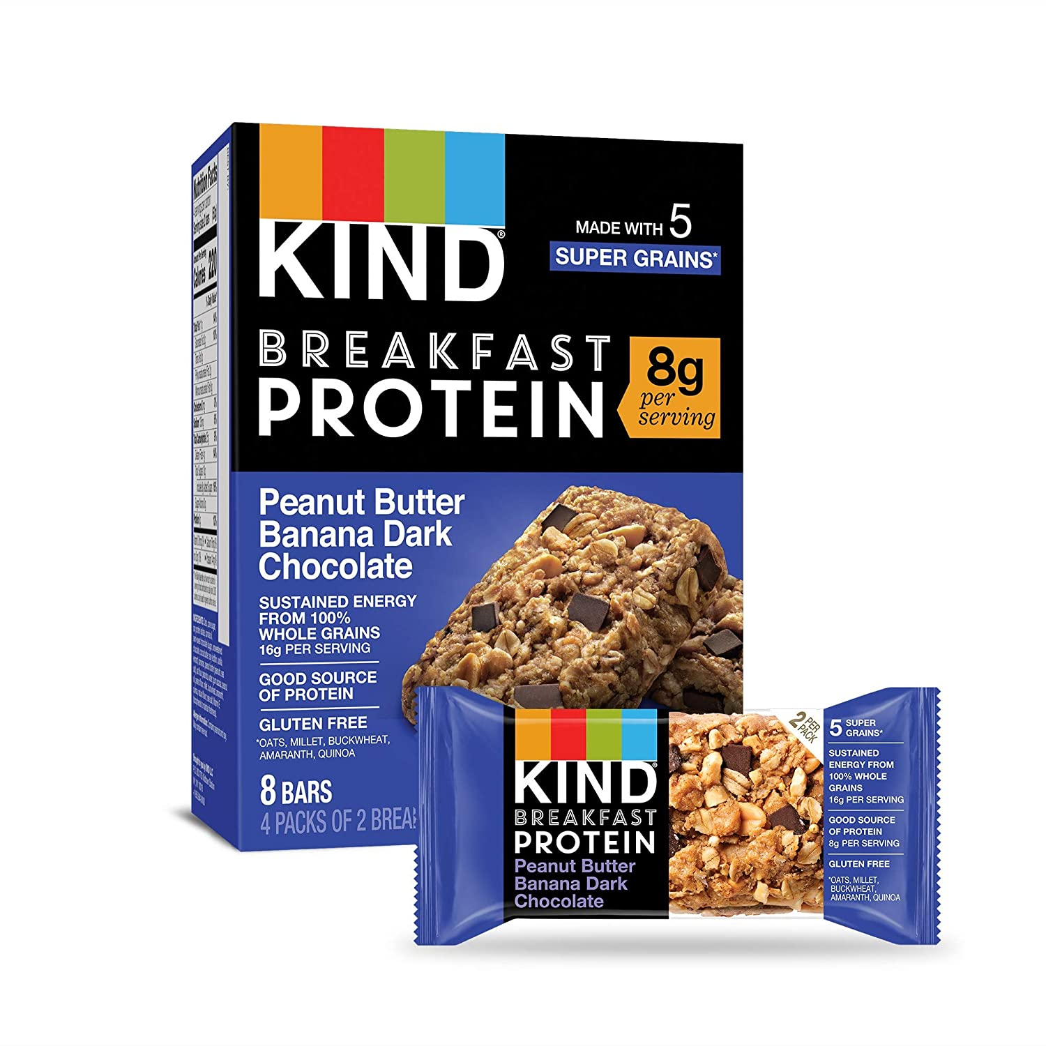 KIND Breakfast Protein Bars, Gluten Free, Non GMO, 1.76 Oz, Peanut Butter Banana, 32 Count