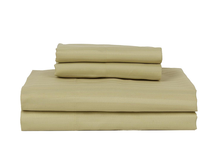 RDM Koncept Kentshire Collection 410 TC Sheet Set Cotton Rich Stripe Sateen King Stone