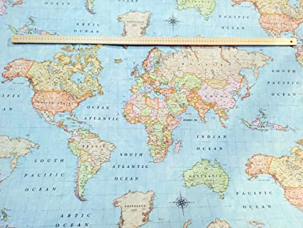 World map 3 designer curtain upholstery cotton fabric material world map 3 designer curtain upholstery cotton fabric material 280cm extra wide sky blue sold by the metre amazon kitchen home gumiabroncs Choice Image
