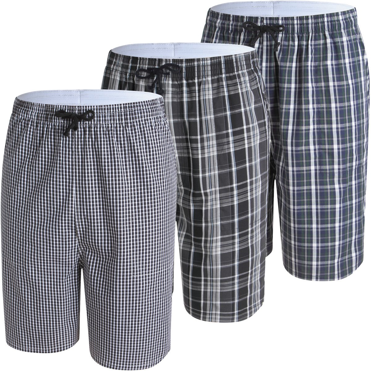 JINSHI Men's Pajama & Sleep Jam Cargo Short Lounge Pants 3Pack