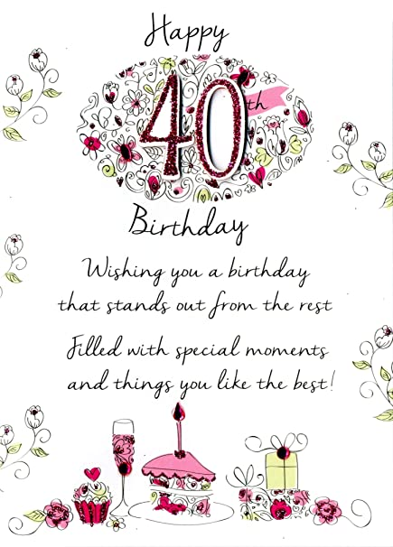 Image Unavailable Not Available For Color Female 40th Birthday Greeting Card