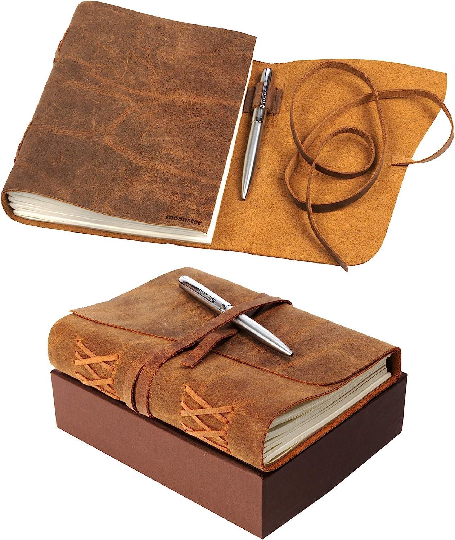 Moonster Set de Cuaderno de Cuero con Bolígrafo de Lujo – Diario de Escritura Hecho a Mano 100% Cuero Genuino de Búfalo de Agua – Encuadernación Manual – Papel de Algodón Reciclado Sin Ácidos