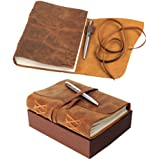 Leather Journal Notebook Gift Set with Luxury Pen – Handmade Genuine Buffalo Leather Travel Journal with Unique Hand…