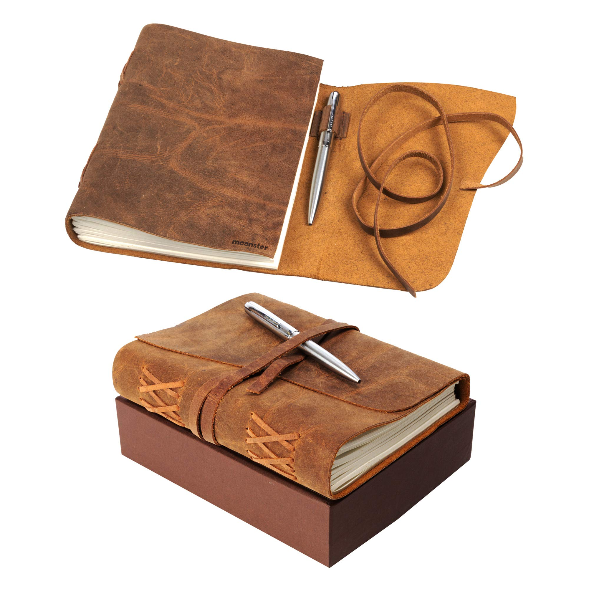 LEATHER JOURNAL Gift Set Handmade - Ideal Present with Secret Pen Holder and Premium Metallic Pen - Writing Notebook 8 x 6 Inches Blank Paper, Rustic A5 Leather-Bound Daily Notepad For Men and Women by moonster