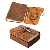 Leather Journal Notebook Gift Set with Luxury Pen – Handmade Genuine Water Buffalo Leather Travel Journal with Unique Hand-Stitched Coptic Leather Binding – Premium Recycled Acid-Free Cotton Paper