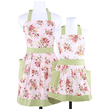 Neoviva Mama And Me Kitchen Apron Set With Pocket Style Diana Floral Quartz Pink