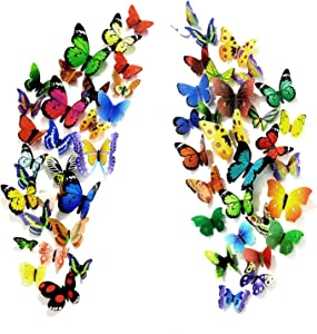 PARLAIM 104PCS Butterfly Wall Decals for Wall-3D Butterflies Wall Stickers Butterfly Decoration Butterflies Decoration Removable Mural Decals Home Decoration for Kids Nursery Bedroom Living Room Decor
