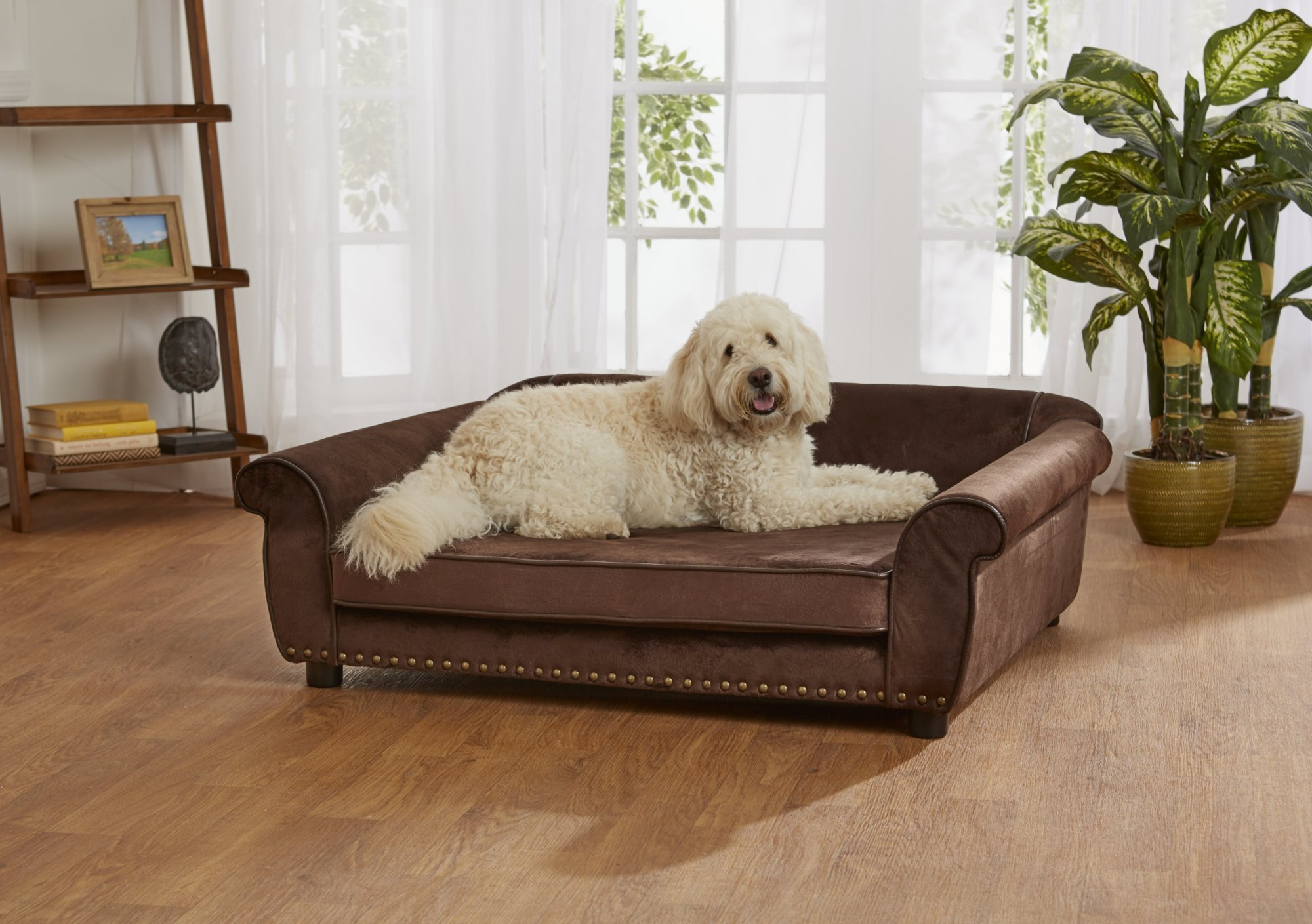 Enchanted Home Pet Ultra Plush Outlaw Pet Sofa In Brown