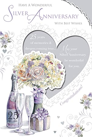 Silver 25th wedding anniversary card champagne pale flowers silver 25th wedding anniversary card champagne pale flowers present 9quot m4hsunfo