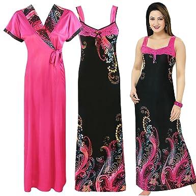 3ef2bf0b1d The Orange Tags Ladies Nightie Nighty Womens Designer 2PC Nightwear Robe  Satin Nightdress-Black-One Size  Regular (8-14)  Amazon.co.uk  Clothing