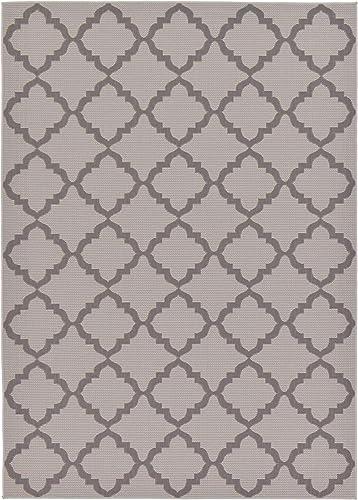 Unique Loom Outdoor Trellis Collection Geometric Moroccan Lattice Transitional Indoor and Outdoor Flatweave Gray/Silver Area Rug 7' 0 x 10' 0