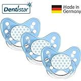 Dentistar® Schnuller 3er Set Nuckel Silikon in Größe 3, ab 14 Monate - zahnfreundlich & kiefergerecht - Beruhigungssauger für Babys   Sterne
