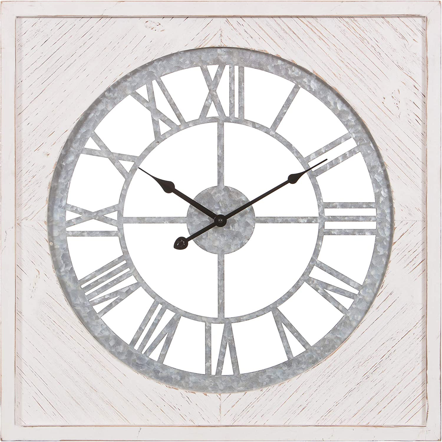 Patton Wall Decor 20 Inch Whitewash Wood and Metal Roman Numeral Wall Clock White