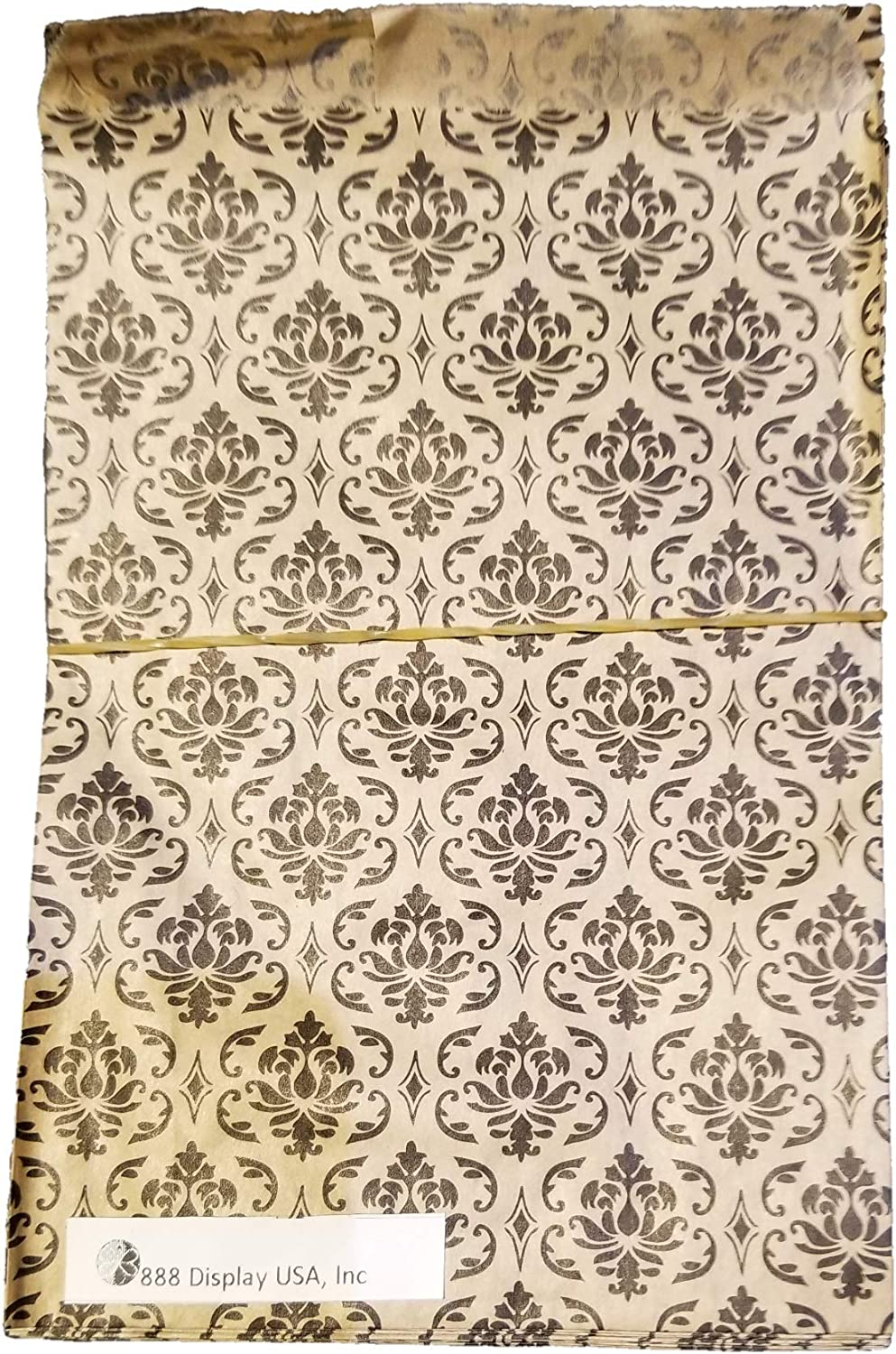 """200 pcs Damask Paper Gift Bags Shopping Sales Tote Bags Brown with Black Damask Design (8 1/2"""" x 11"""") …"""