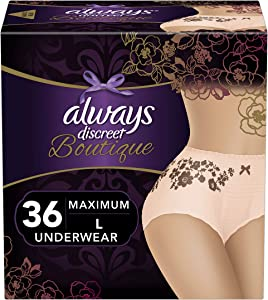 Always Discreet Boutique Incontinence & Postpartum Underwear for Women, Disposable, Maximum Protection, Large, Peach, 18 Count - Pack of 2 (36 Count Total)