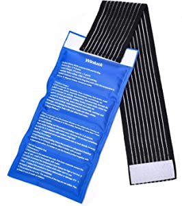 Gel Ice Packs for Injuries- Adjustable Wrap for Pain Relief Ice Pack+Heat Pack , Non-Toxic Smooth Reusable, Support Rehabilitation, Flexible Therapy - Shoulder, Back, Knee, Neck, Ankle, Jaw & More,