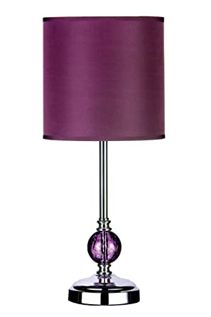 Premier housewares chrome table lamp with purple glass ball and premier housewares chrome table lamp with purple glass ball and purple shade amazon lighting mozeypictures Images