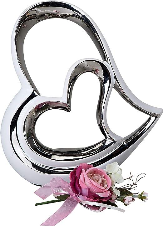 Modernes Deko Herz aus Keramik silber Höhe 26 cm