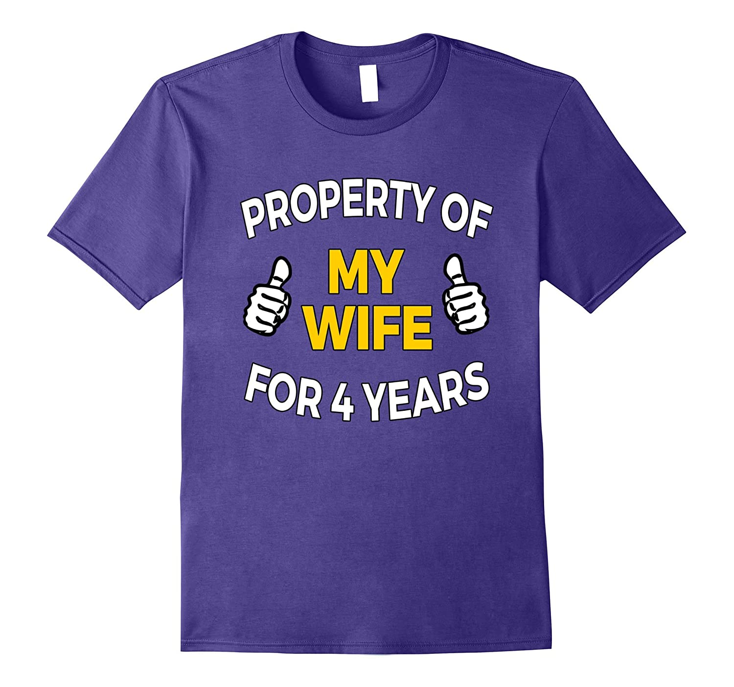 4th anniversary t shirt : Mens property of my wife for years t shirt th