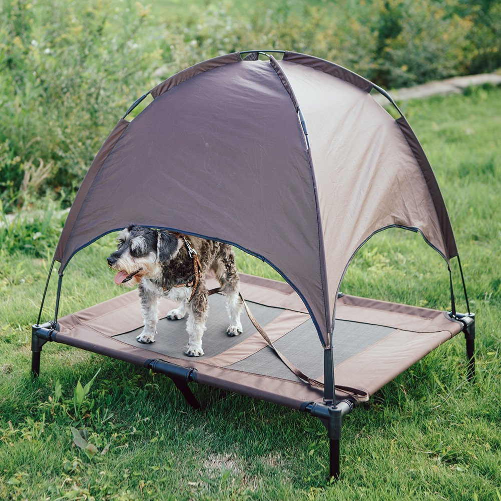 SUPERJARE Large XLarge Outdoor Dog Bed Elevated Pet Cot with Canopy Portable for Camping or Beach Durable 1680D Oxford Fabric Extra Carrying Bag – Brown