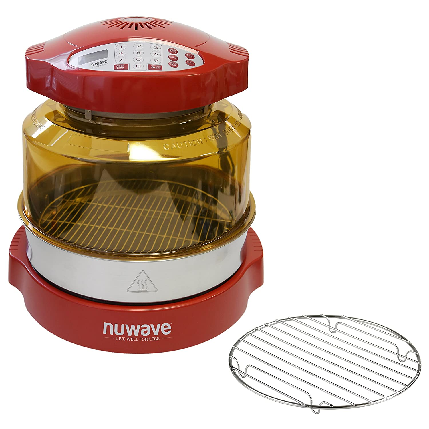 NuWave Oven Red Pro Plus with Stainless Steel Extender Ring Kit and Additional 9.25 Inch Cooking Rack