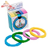 Amazon Price History for:Babynow Teether Rings [4 Colour Pack] to Reduce Gum Pain and Sooth Baby Mood Certified BPA Free Silicone