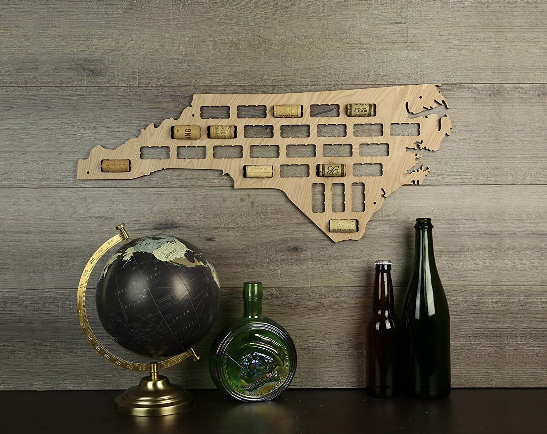Wooden Shoe Designs North Carolina Wine Cork Map, Tan