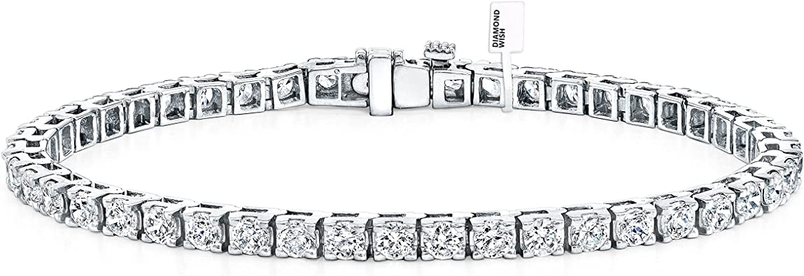 1.50 CT Look 14K White Gold Finish Round Diamond S Link Tennis Bracelet