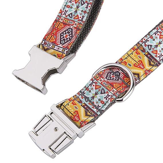Collar personalizado para perro con nombre grabado a láser en hebilla de acero inoxidable, estampados modernos: Amazon.es: Productos para mascotas